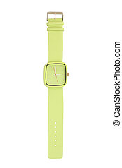 Green wristwatch isolated on white background
