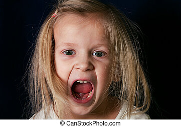 Gitl Screaming - Little girl screaming with open mouth,...