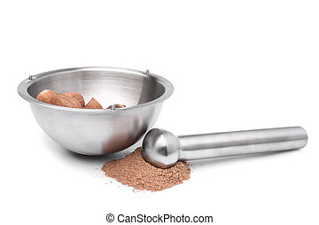 Mortar and pestle with nutmeg
