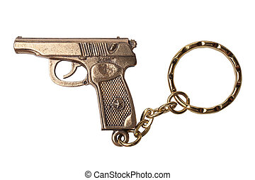 Trinket for the keys as a TT pistol isolated on white...