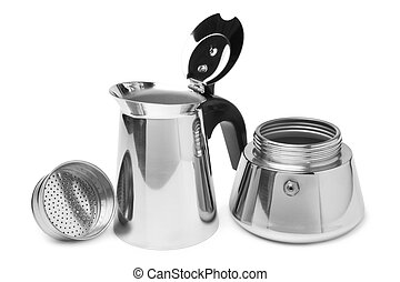 Metal coffeepot on white background