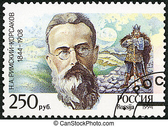 RUSSIA - 1994: shows the picture of NA Rimsky-Korsakov,...