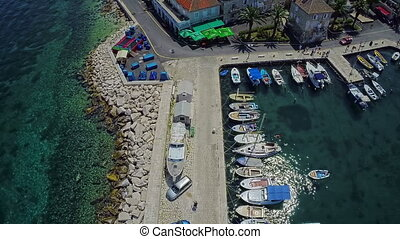 Sutivan port on Brac Island, aerial shot - Copter aerial...