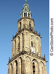 Martinitower. Groningen - Martinitower from 1482 in the city...