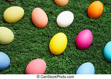 Eggs in grass - Coloured Easter eggs in green grass