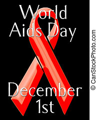 World Aids Day graphic - A black and red postcard style...