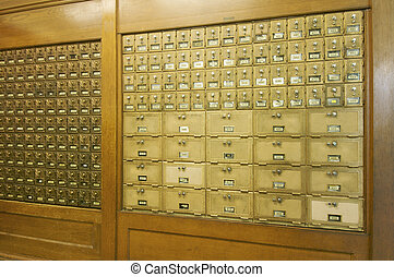 mailboxes lined - slogans whole post lined up in a post...