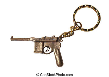 Trinket for the keys as a Pistol Mauser isolated on white...