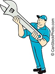 Mechanic Presenting Spanner Wrench Cartoon