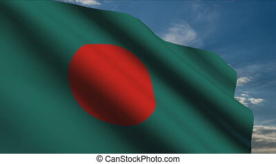 Bangladesh Flag waving in wind with clouds in background