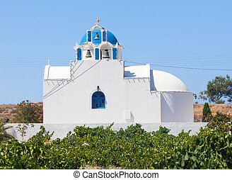 Chapel in the vineyard.Santorini island. Greece. - Church...