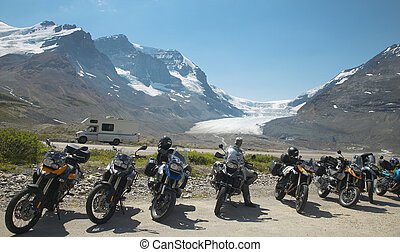 Columbia Icefield landscape with motorcycles in Alberta....