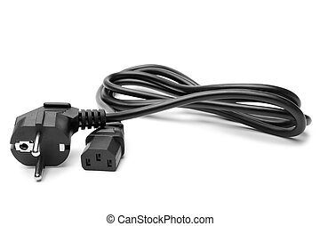 3 pin power cord on white background