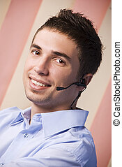 Customer service male operator - Portrait of customer...