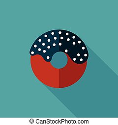 birthday donut flat icon with long shadow,eps10