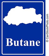 silhouette map of Butane - sign as a white silhouette map of...