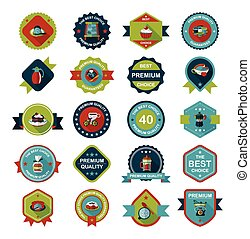coffee badge design flat background set, eps10