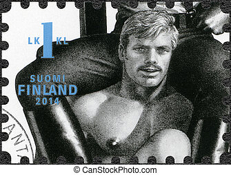FINLAND - 2014: shows drawing by Tom of Finland - FINLAND -...