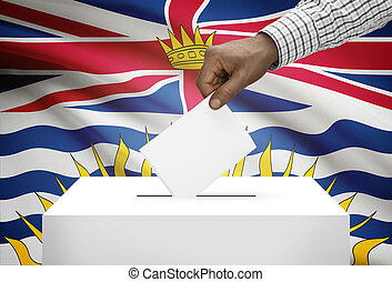 Voting concept - Ballot box with Canadian province flag on...