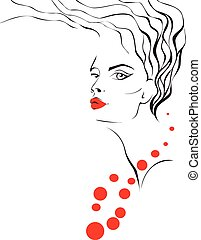 Woman face silhouette with wavy hai