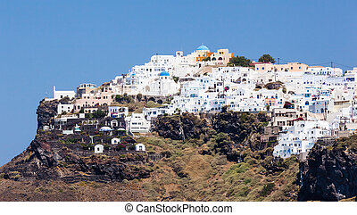 Imerovigli town on Santorini Island - Large view of...