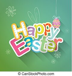 Happy Easter typographic background illustration