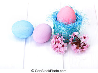Blue and pink Easter eggs