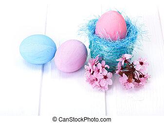 青, ピンク, 卵, イースター