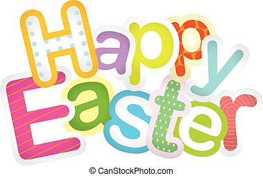 Happy Easter typographic design illustration