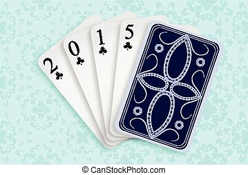2015 playing cards against white background, abstract vector...