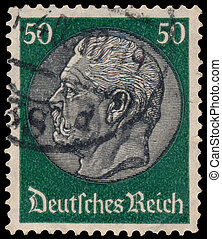 Stamp printed in Germany shows port - GERMANY - CIRCA 1934:...