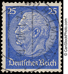 Stamp printed in Germany shows portrait of Paul von...