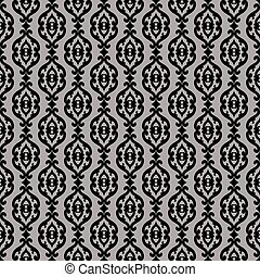 Elegant classic barocco seamless pattern. Silver and black.