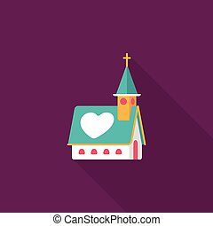 wedding church flat icon with long shadow,eps10