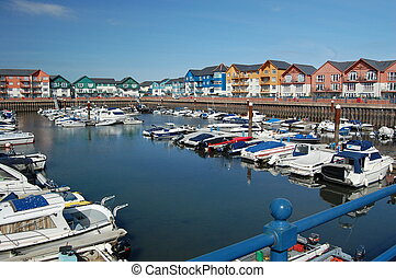 Exmouth Marina with boats and appartments.