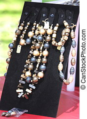 Fashion woman jewerly with semiprecious stones and pearls
