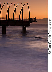 Sunrise Pier - Umhlanga Pier at sunrise with oragne glow