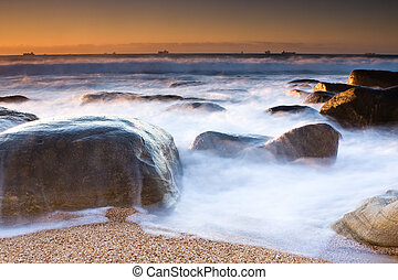 Milkshake - Milky waves and Rocky shore beach of Umhlanga...