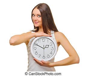 jovem, mulher, com, clocks,