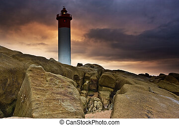 Lighthouse on Rocks - Umhlanga Lighthouse on the rocky coast...