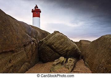 Lighthouse on Rocks - Umhlanga Lighthouse on the rocky coast...