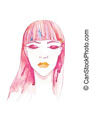 girl - beautiful girl, her eyes closed watercolor fashion...