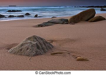 Tranqual rocks - Rocky shore and sandy beach of Umhlanga...