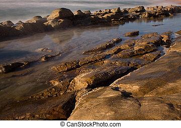 The barrier - Rocky shore beach of Umhlanga near Durban