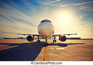 avión, en, el, salida del sol,