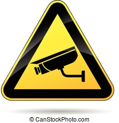 security camera sign - illustration of security camera...