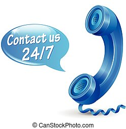 contact us icon - illustration of 24 hours service phone...
