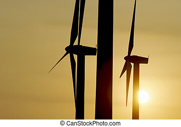 windmills - backlit windmills and the sun