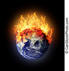 Burning earth globe east hemisphere with gloving elements...