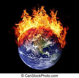 Burning earth globe west hemisphere (without gloving)...